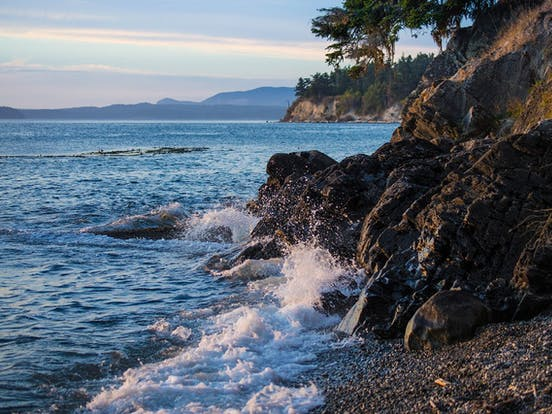 Rocky shoreline of the San Juan Islands