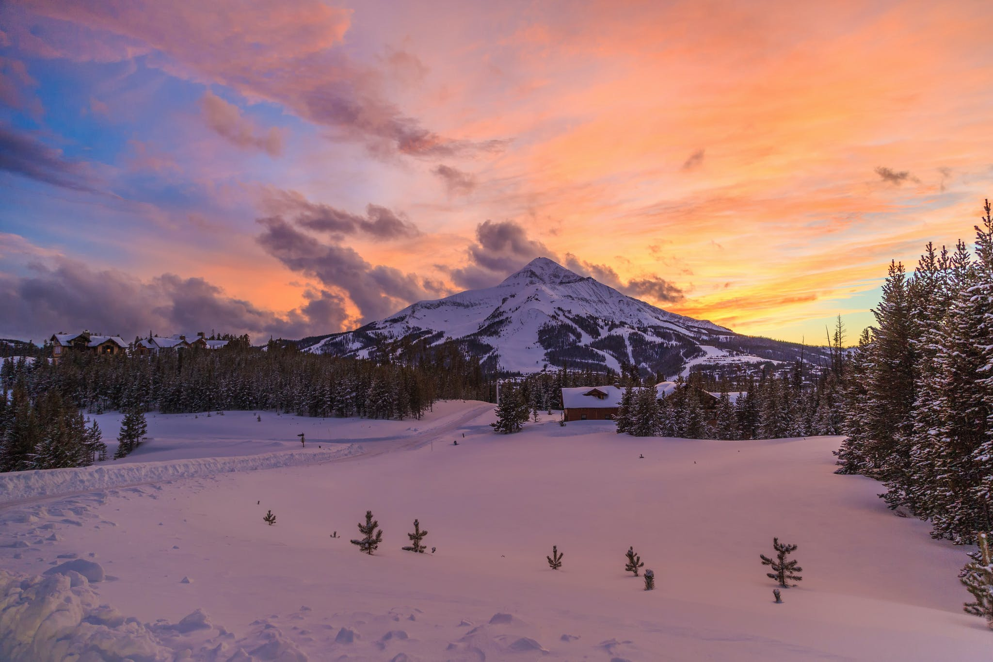 Lone Mountain at sunset from Big Sky
