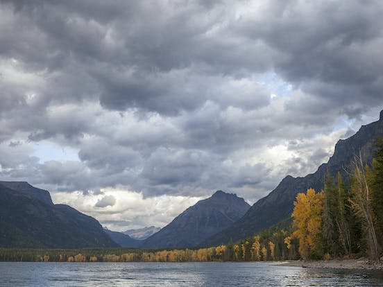 Whitefish lake on a cloudy fall day