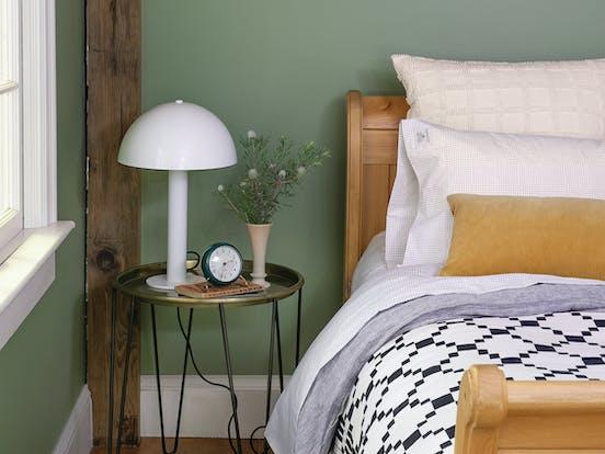 Swedish Stuga vacation rental bedroom nightstand