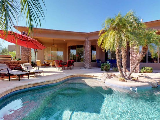 Back patio and pool view of a vacation rental in Scottsdale AZ