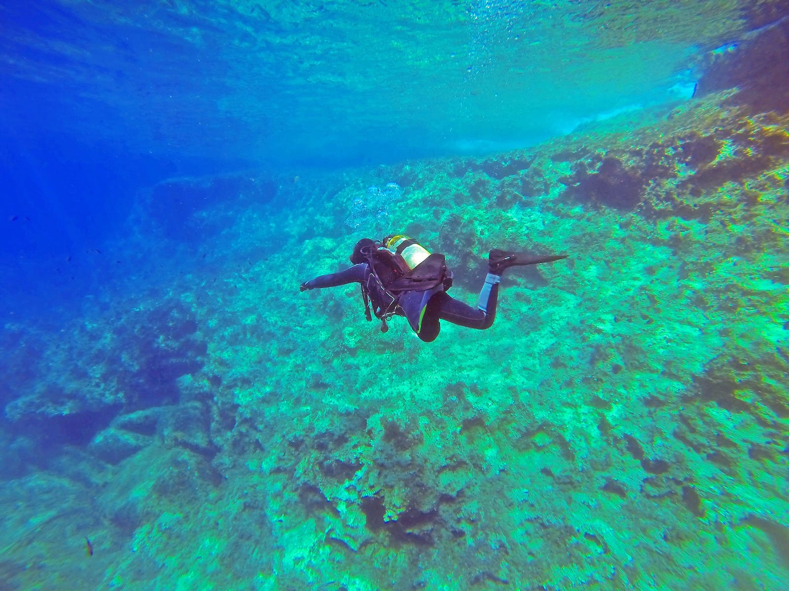 Scuba diver swimming through the water