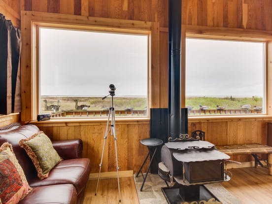 Living room with ocean views of Sequim vacation rental