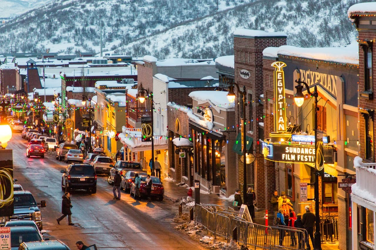 downtown park city lit up on a cold winter evening