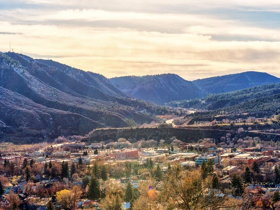 an overview city picture of a colorado mountain town in the winter