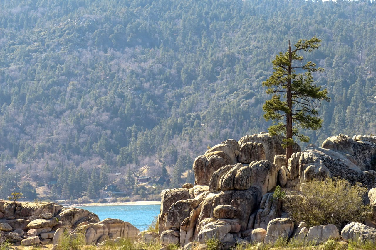 a rock formation overlooking big bear lake