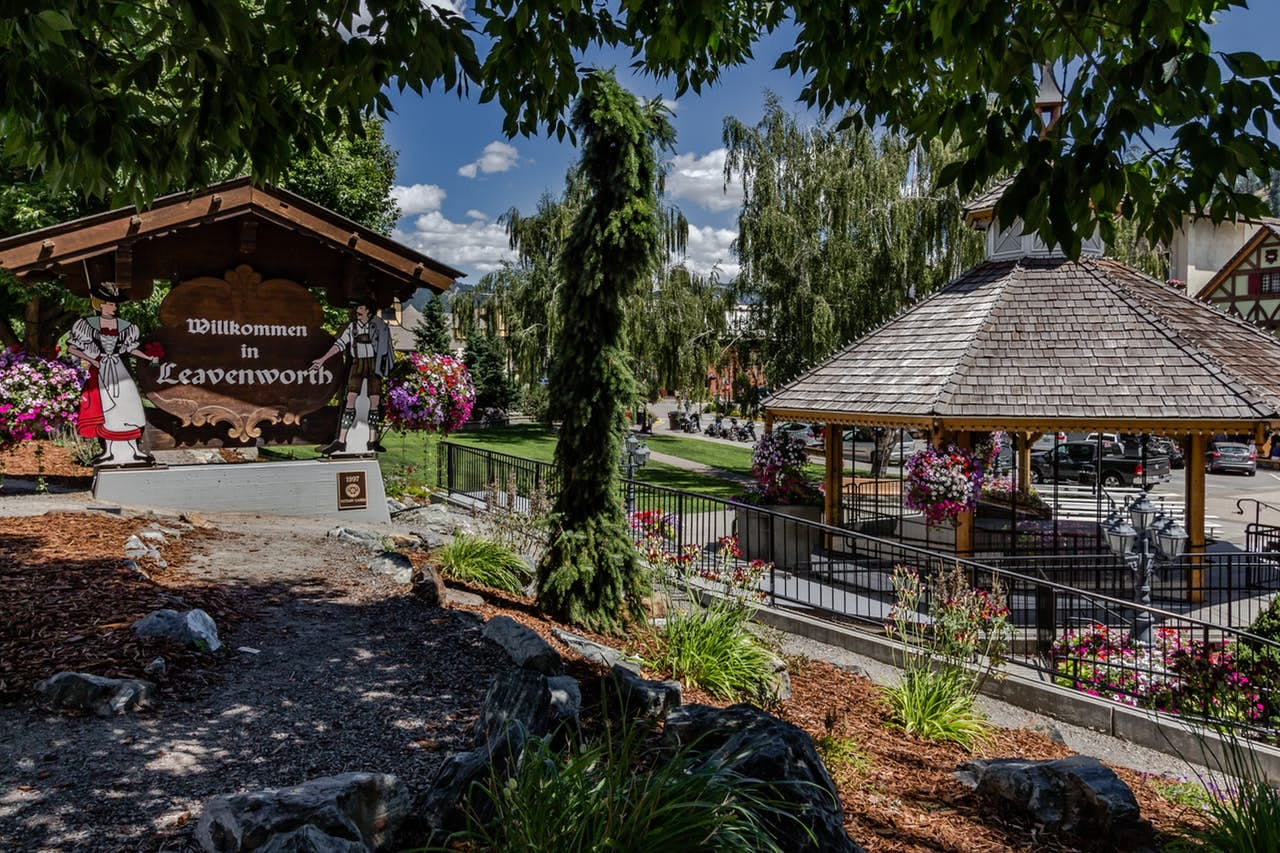 the main town square of leavenworth on a sunny day