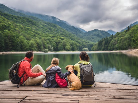a family and their dog sitting on a dock overlooking a lake