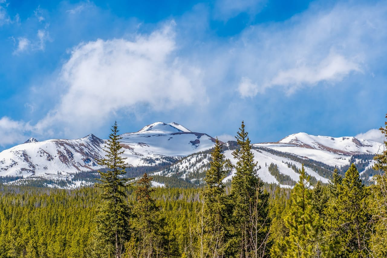 A sunny winter day with green trees and the mountains in the background near Breckenridge, CO