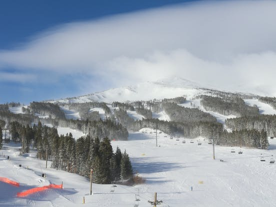 Colorado ski resort on a cold winter morning