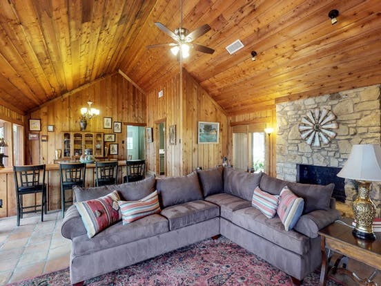 Lovely interior of Dripping Springs, TX vacation cabin