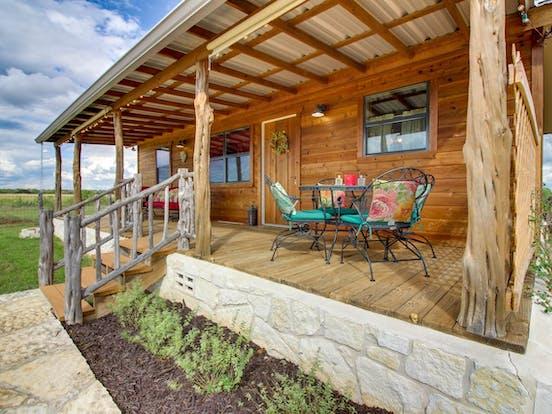 Front porch of Fredericksburg, TX cabin