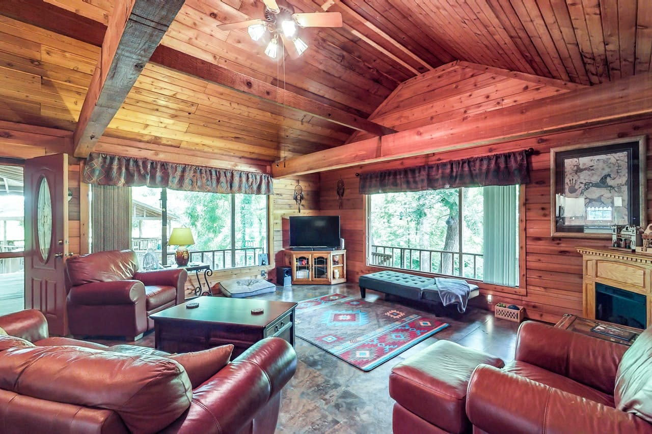Rustic interior of New Braunfels, TX vacation cabin