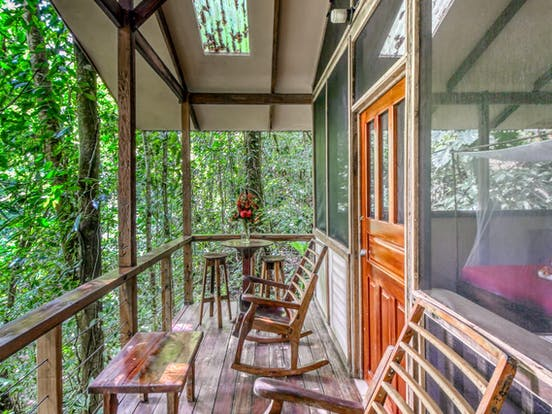 Deck of treehouse vacation rental in Costa Rican rainforest