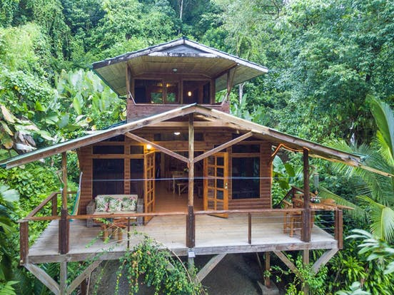 View of treehouse vacation rental nestled in the Costa Rican rainforest