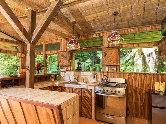 Kitchen area of treehouse vacation rental in Costa Rica