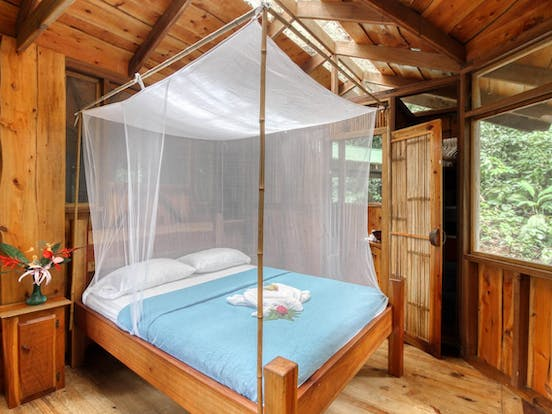 Bedroom of treehouse vacation rental in Costa Rica