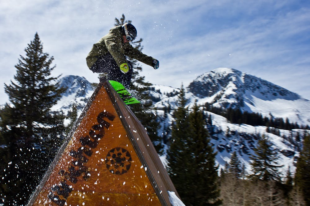 a snowboarder in the terrain park at Epic Brighton