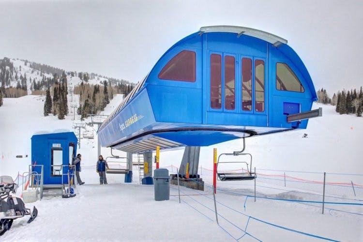 the bottom of a Ski lift in Solitude
