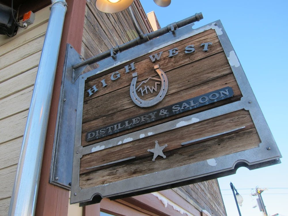 the wood sign out front the High West Distillery & Saloon
