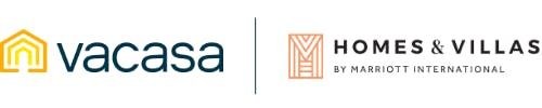 Logos for Vacasa and Homes & Villas by Marriott International
