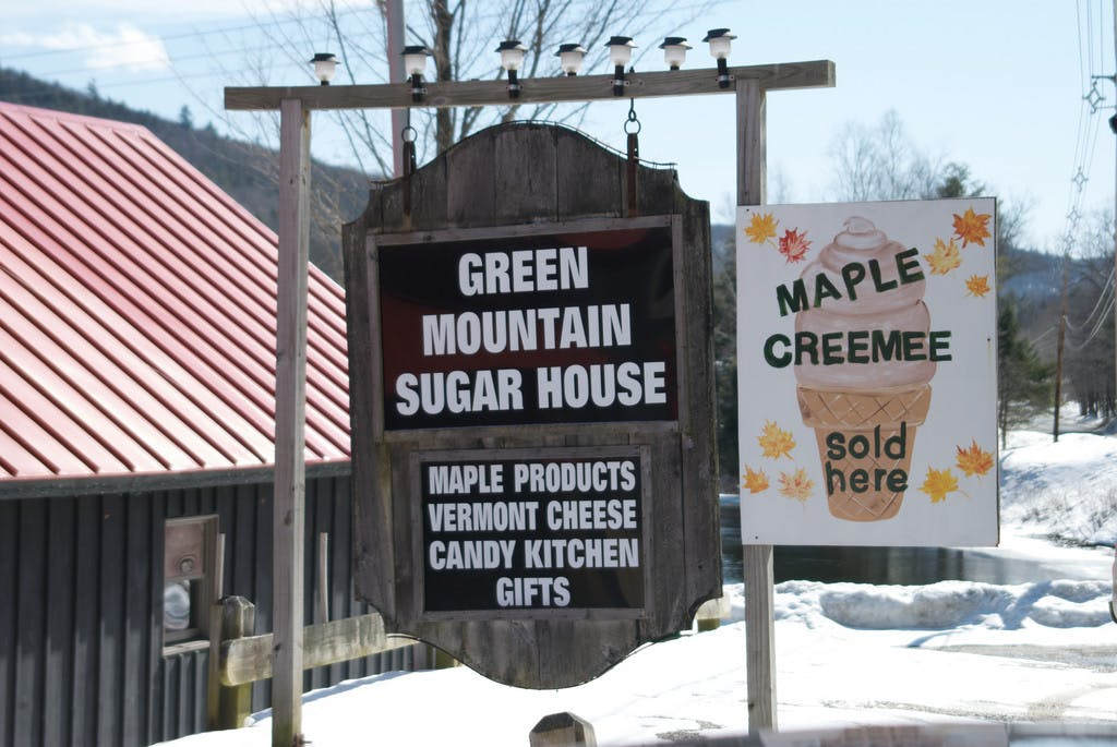 a sign of Green Mountain Sugar House