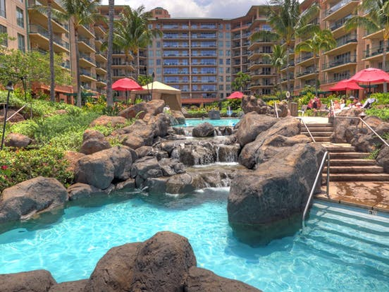 Rock-filled outdoor pool at Honua Kai Resort in West Maui