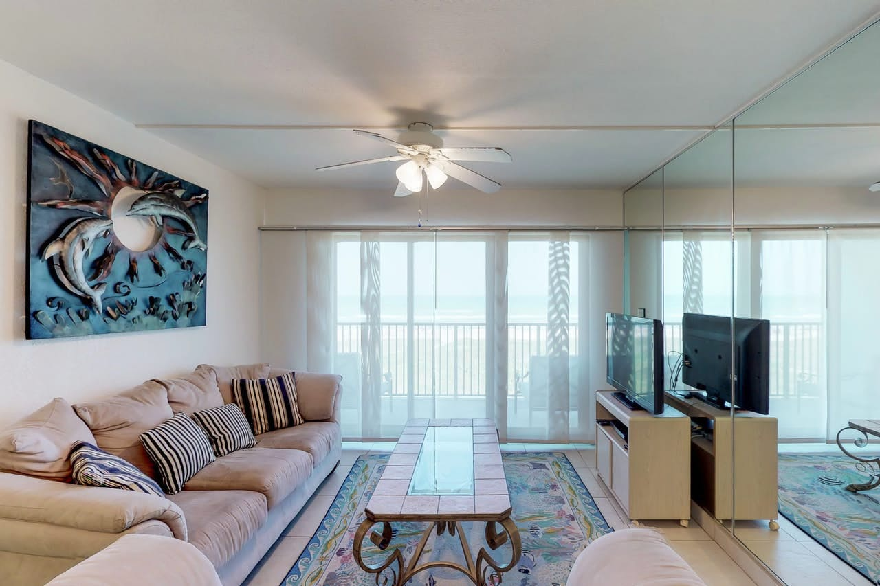 Living room of vacation rental located in South Padre Island, TX