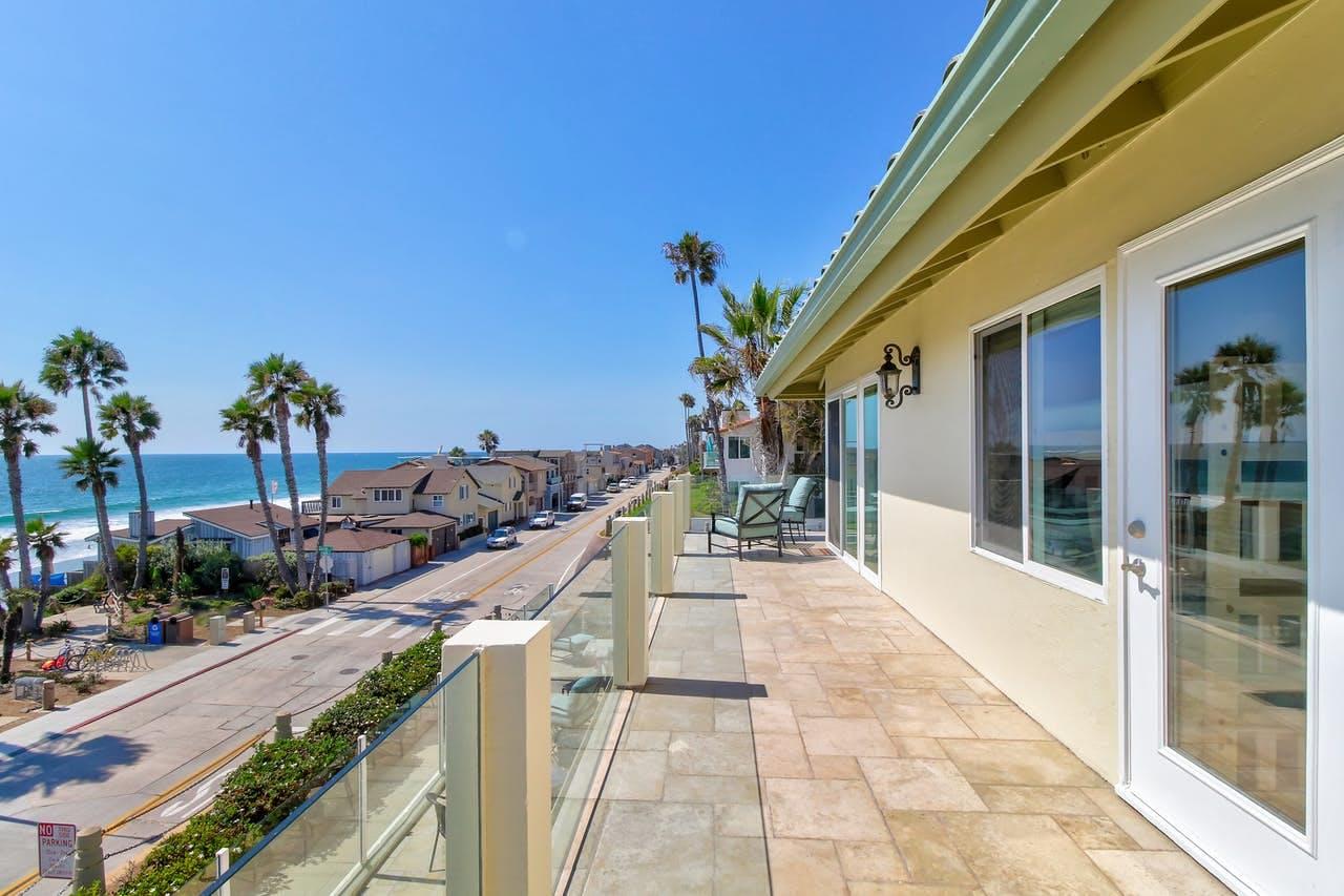Gorgeous blue skies near warm beach in Oceanside, CA