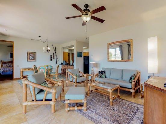 Living room of Shores at Waikoloa vacation condo
