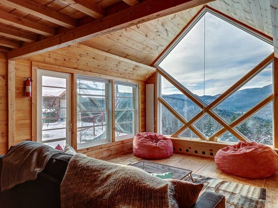 Cabin rental in Warren, VT with large windows overlooking the mountains
