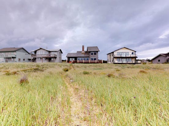 View of beach homes located in Westport, WA