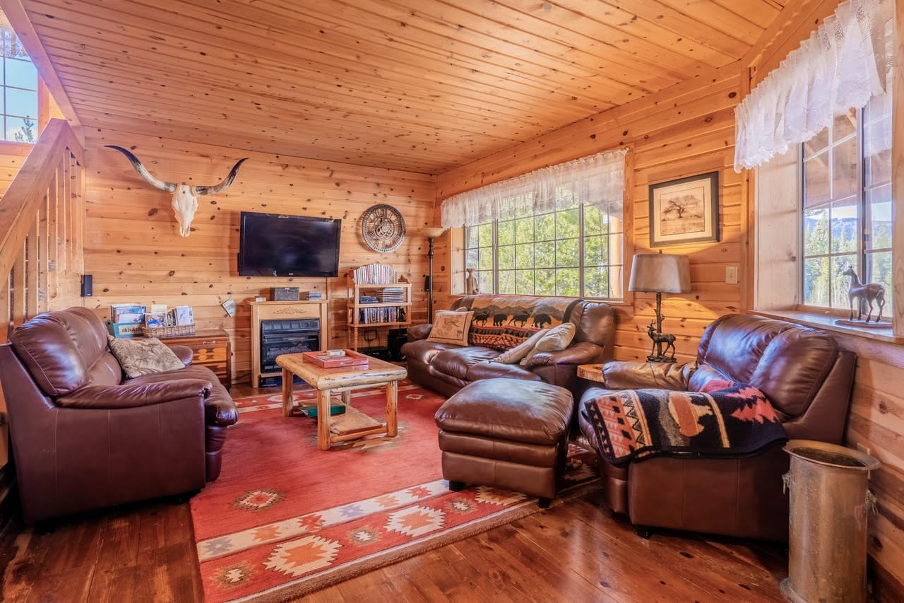 Rustic an cozy living room of West Yellowstone, MT vacation cabin rental