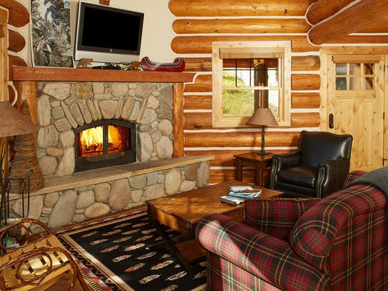 Living room of Powder Ridge Cabin 11 located in Big Sky, MT