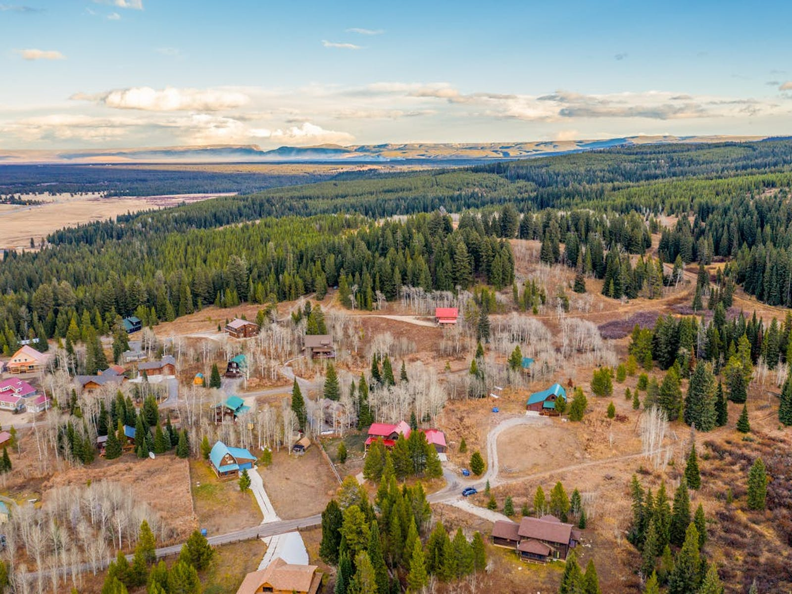 Aerial view of Yellowstone National Park landscape and cabins