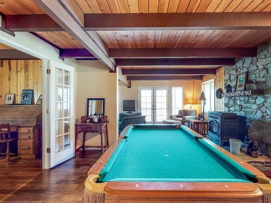 Pool table inside Groveland vacation rental